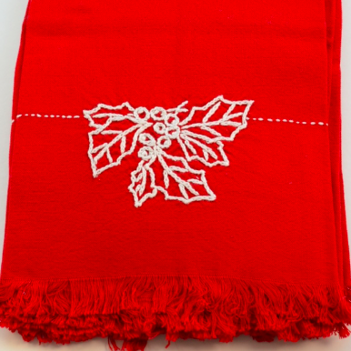 Hand Embroidered Holly Towel
