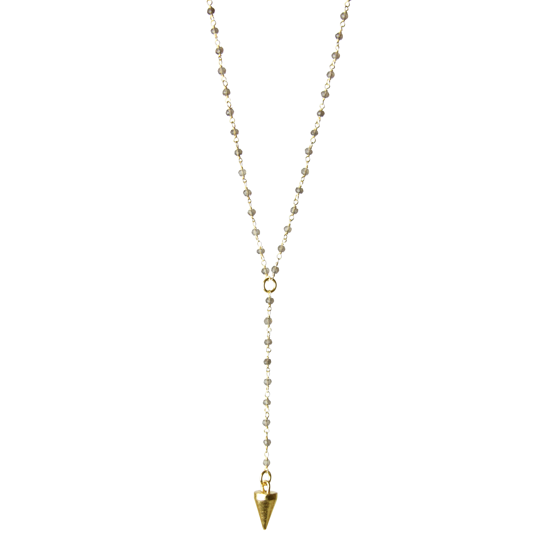 "Gold Pendulum ""Divination"" Gemstone Y Necklace"