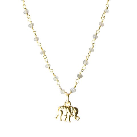 Elephant Mini Talisman Semi-Precious Stone Chain Necklace