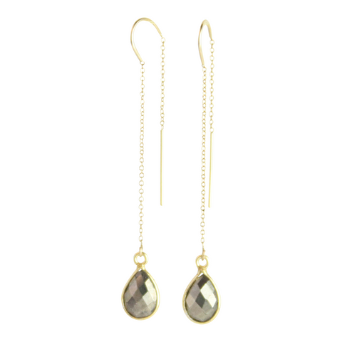 Gemstone Drop Threader Earrings in Pyrite