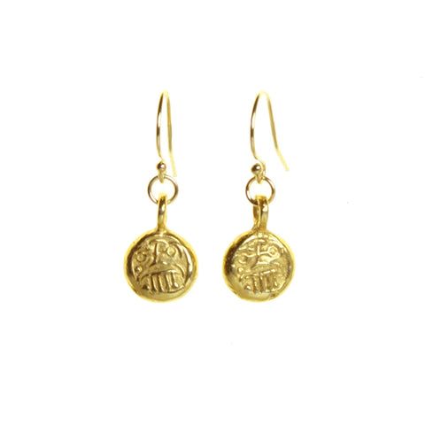 Mini Gold Plated Bronze Drop Earrings on Gold Filled Ear-wires