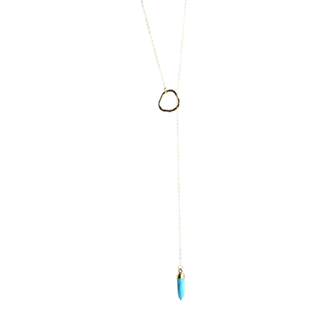 Gemstone Point Lariat Necklace in Turquoise