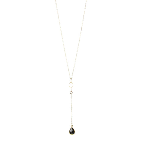 Dainty Pendulum Teardrop Necklace in Black Spinel