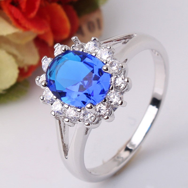 GULICX Flower Ring 24k Yellow /18k White Gold Plated Ring Sapphire Blue/Red Big Oval Crystal CZ Zirconia Jewelry For Women R028