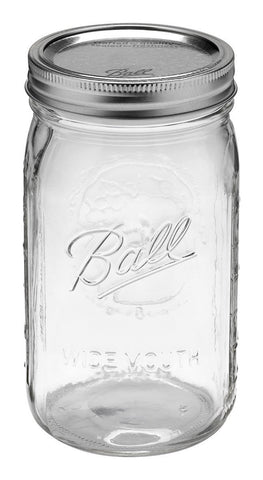 Ball Jar, 32 oz (One Quart) Wide Mouth, Case of 12
