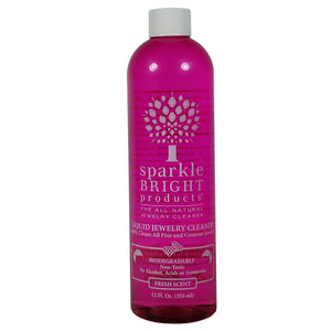 Sparkle Bright Products All-Natural Jewelry Cleaner | Liquid Jewelry Cleaning Solution, 12oz. Refill Bottle - Sparkle Bright Products