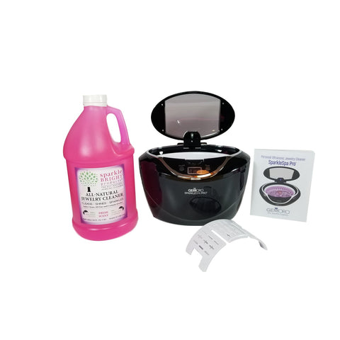 GemOro SparkleSpa Pro Ultrasonic Half-Gallon Jewelry Cleaner Kit (black or gray)