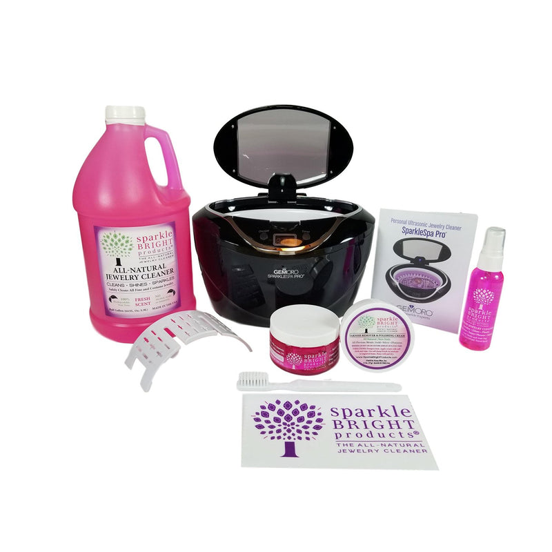 Sparkle Bright Products | GemOro 1790 SparkleSpa Pro Ultrasonic Luxury Jewelry Cleaning Kit, (Black or Gray) - Sparkle Bright Products