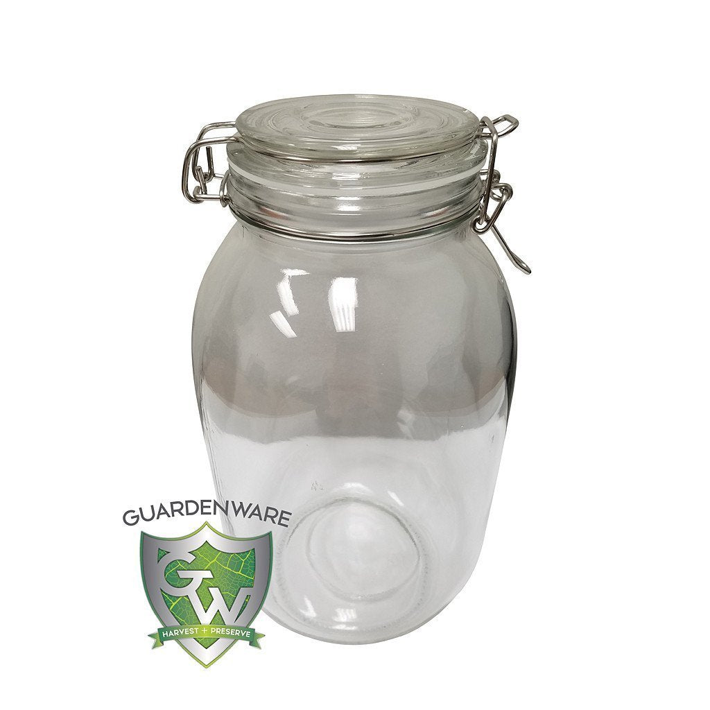 GuardenWare Glass Jar w/ Clamp Lid, 105 oz, Case of 6