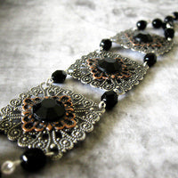 Gothic Victorian Steampunk Rhinestone Bracelet - Red Or Black