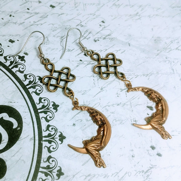Celtic Moon Goddess Earrings Jewelry