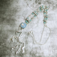 Skeletal Unicorn Swarovski Crystal Necklace