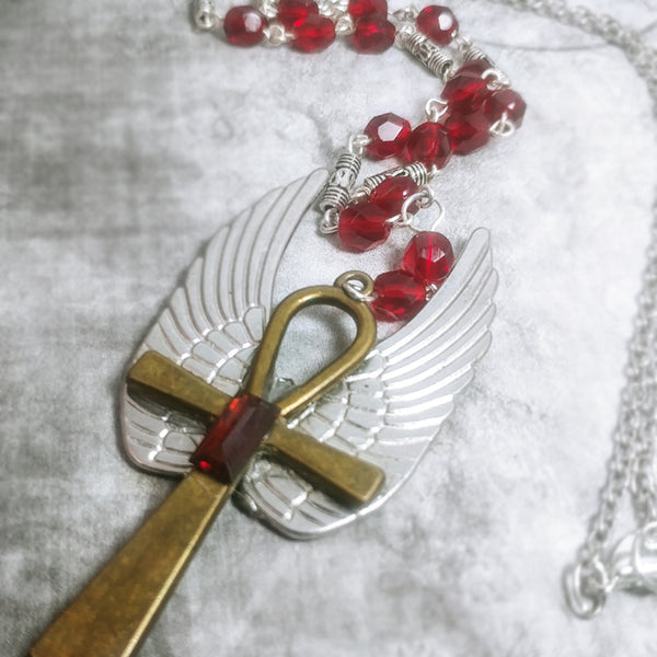 Ruby Winged Ankh Necklace