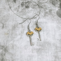 Bitty Brass Bat Key Earrings