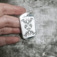 Bat Heart Dog Tag Key Chain Charm
