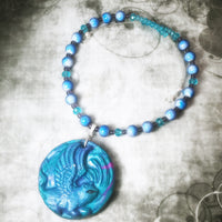Hues Of Blue Angel Cat Necklace