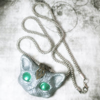 Silver Cat Face Necklace