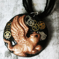Steampunk Cog Wheels Angel Cat Necklace