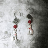 Egyptian Bast Red Heart Earrings