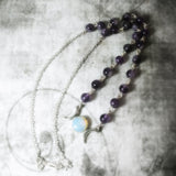 Amethyst Gemstone Triple Moon Necklace