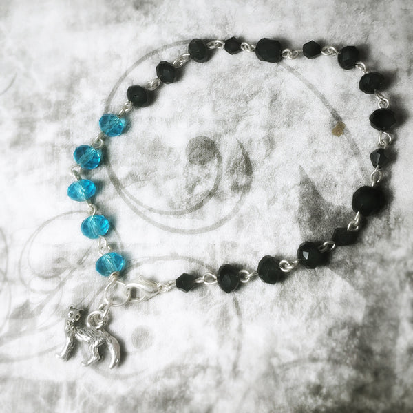 Fox Wolf Black And Blue Beaded Bracelet