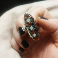 Siam Opal Adjustable Steel Ring