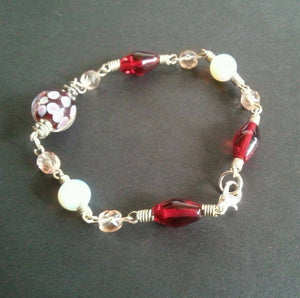 Pink And Red Contemporary Vintage Glass Beaded Bracelet