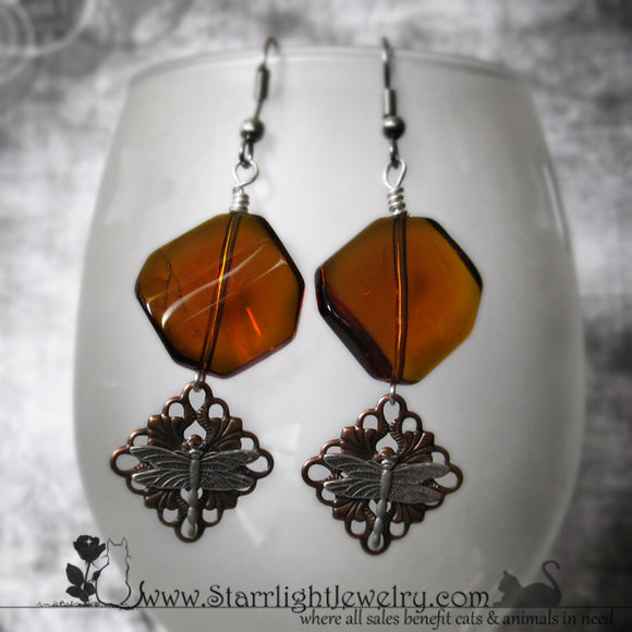 Amber Dragonfly Surgical Stainless Steel Earrings