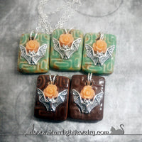 Lovely Contemporary Ceramic Bat Rose Necklace