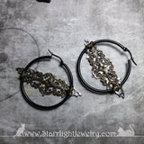 Silver Filigree Bat Tunnel Hoop Earrings