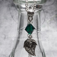 Bitty Bat Leaf Birthstone Crystal Necklace