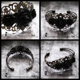 Tripple Black Rose On Filigree Brass Arm Cuff