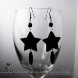 Black Star Acrylic Stainless Steel Earrings