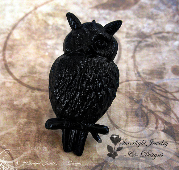 Extra Large Owl Soild Black Steel Ring - Adjustable