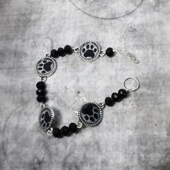 Paw Prints Bracelet  Black And Silver