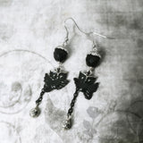 Black Owl Star Drop Earrings Hand Painted