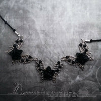 Black Rose Butterly Filigree Crystal Necklace - One Of A Kind