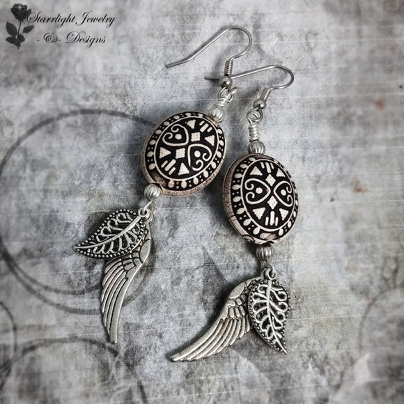 Bohemian Inspired Tribal Bead Leaf wing Earrings