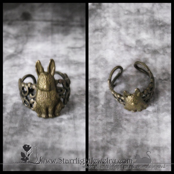 Victorian Style Rabbit Casting Brass Ring -Adjustable