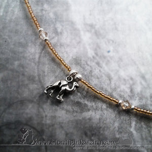 Darling Dromedary Gold Seed Bead Camel Necklace