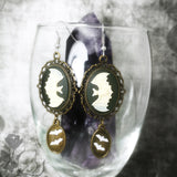 Ivory And Brass Bat Cameo Earrings
