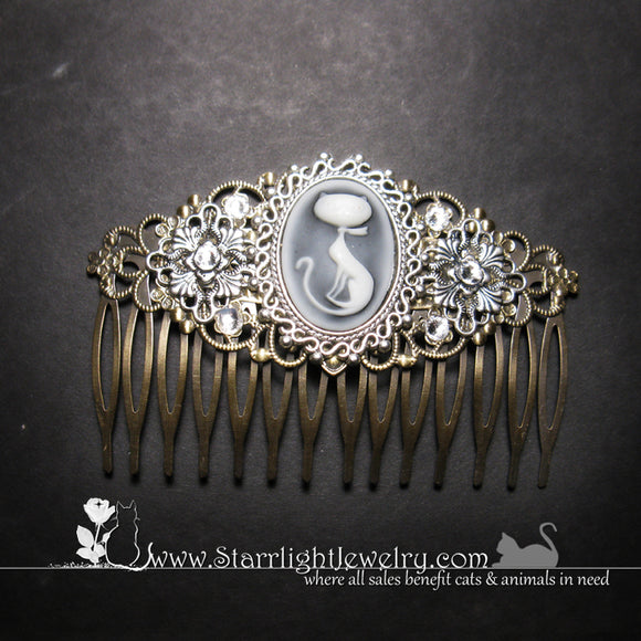 Victorian Styled Feline Crystal Hair Comb Or Barrette
