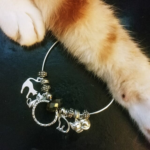 Cat Mom Charm Bangle