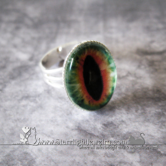 Dragons Eye Amulet Adjustable Silver Ring 12 Color/Eye Choices