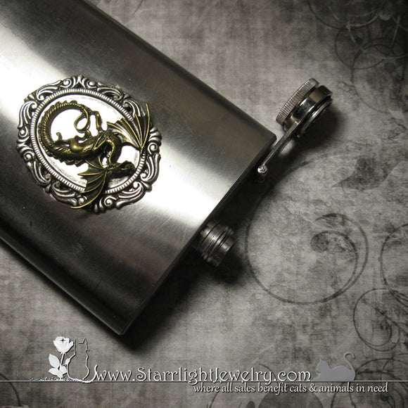 Stainless Steel Dragon Drinking Flask / Canteen