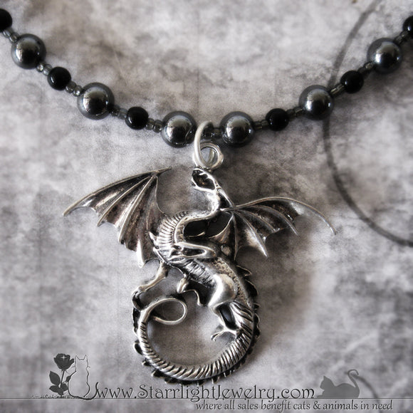Dragon In Flight Hematite Gemstone Necklace