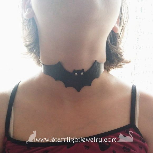 Black Faux Leather Bat Choker Or Spat 10 to 15 inches