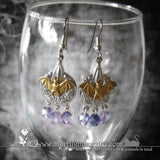 Gold Bat On Silver Chandelier Earrings -11 color Options