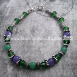 Purple And Green Jade Gemstone Crystal Bracelet