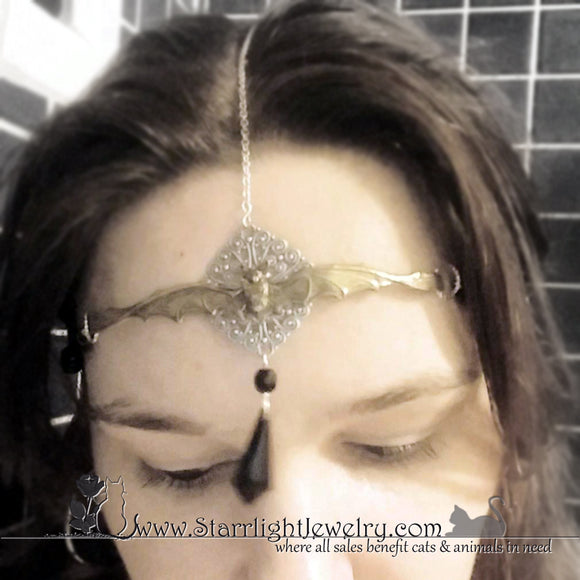 Gothic Jewelry Silver Brass Bat Headband Circlet Crown